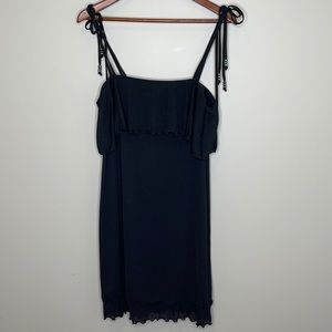 Rapz black ruffled tied shoulders beach cover up L